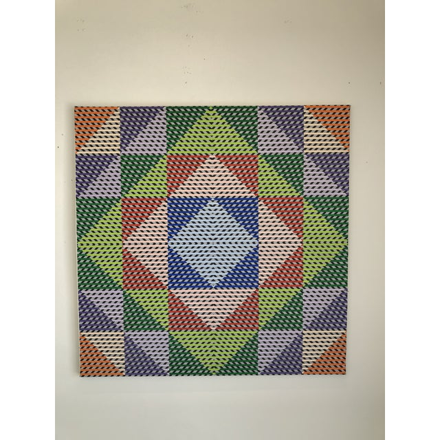 1980s Gabe Silverman Abstract Op Art Painting on Canvas For Sale - Image 10 of 10