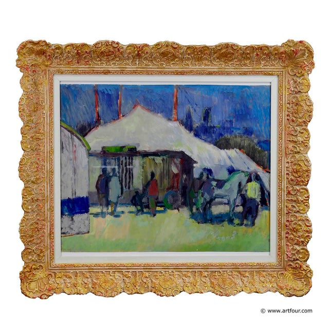 Mid 20th Century Unknown - Impressionistic Watercolor Painting Of A Circus Scenery For Sale - Image 5 of 5