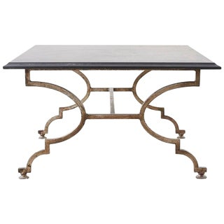 Italian Hollywood Regency Slate Top Iron Cocktail Table For Sale