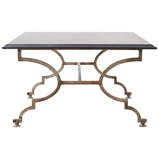 Phenomenal Italian Hollywood Regency Slate Top Iron Cocktail Table Beatyapartments Chair Design Images Beatyapartmentscom