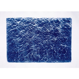 Beautiful Wave Texture Seascape, Limited Edition Cyanotype Print on Watercolor Paper 50x70 CM For Sale