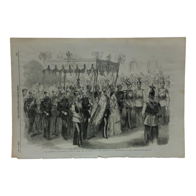 """1856 Antique """"The Emperor & Empress Passing From the Cathedral of the Assumption to the Church of Annunciation"""" The Illustrated London News Print For Sale"""