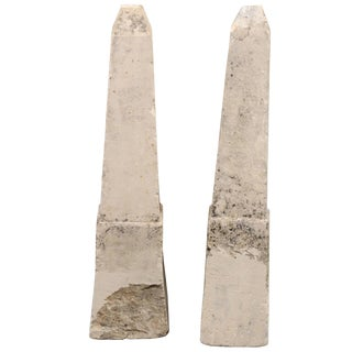 19th Century French Stone Obelisk Property Markers, Perhaps for Garden - a Pair For Sale