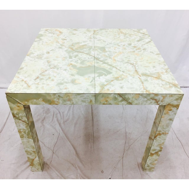 Vintage Mid-Century Modern Faux Marble Parsons Table For Sale - Image 5 of 9