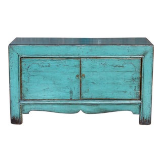 Beautiful Teal Shanxi Vintage Cabinet For Sale