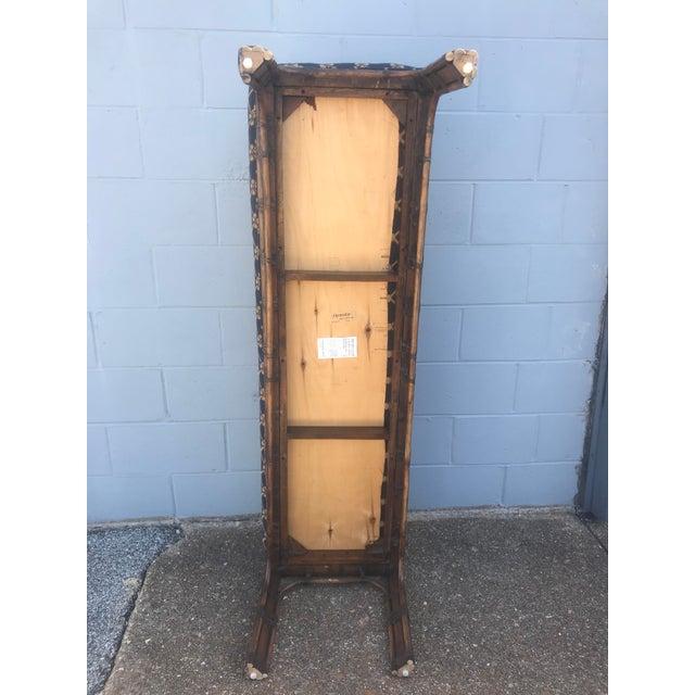 Wood 1990s Vintage Henredon Long Upholstered Rattan Bench For Sale - Image 7 of 10