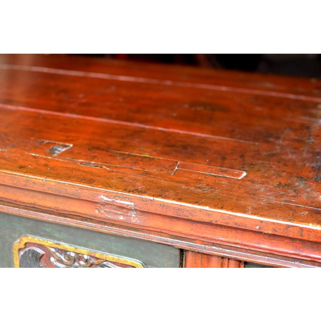 Gemstone 19th Century Tibetan Hand Carved Chest For Sale - Image 7 of 11