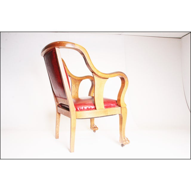 Vintage Wood & Red Leather Gentleman's Chair For Sale - Image 4 of 11