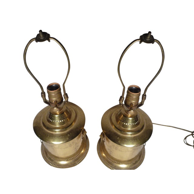 Brass Lion Head Hollywood Regency Lamps - A Pair - Image 6 of 6