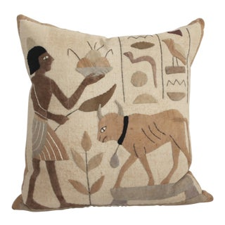 Egyptian Hand Applique Pillow For Sale
