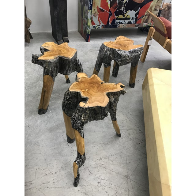 1980s Live Edge Wood Stools - Set of 3 For Sale - Image 5 of 7
