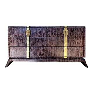Hollywood Regency Leather Reptile Cabinet For Sale