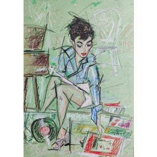 Contemporary Portrait of Audrey Hepburn Color Pencil Drawing by Shirin Godhrawla For Sale