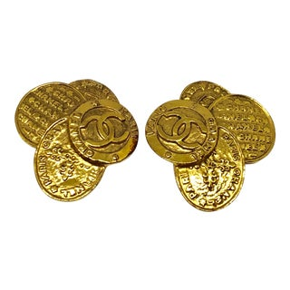 Chanel Gold Plated Clip on Earrings For Sale