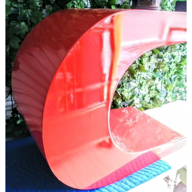 1970s Vintage Karl Springer Cantilevered Red Lacquered Modern Wave Check Console Table For Sale - Image 5 of 9