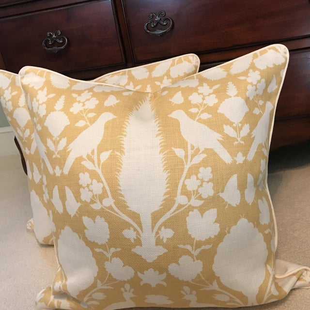 Pair Of 24 inch pillows in Schumacher CHENONCEAU Linen- color buttercup hidden zipper welt and neutral linen back so pretty!