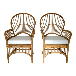 Vintage Cane Arm Chairs - A Pair
