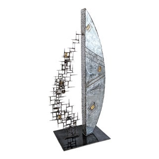 Abstract Brushed Steel Bronze Brass and Mason Nail Floor Sculpture For Sale
