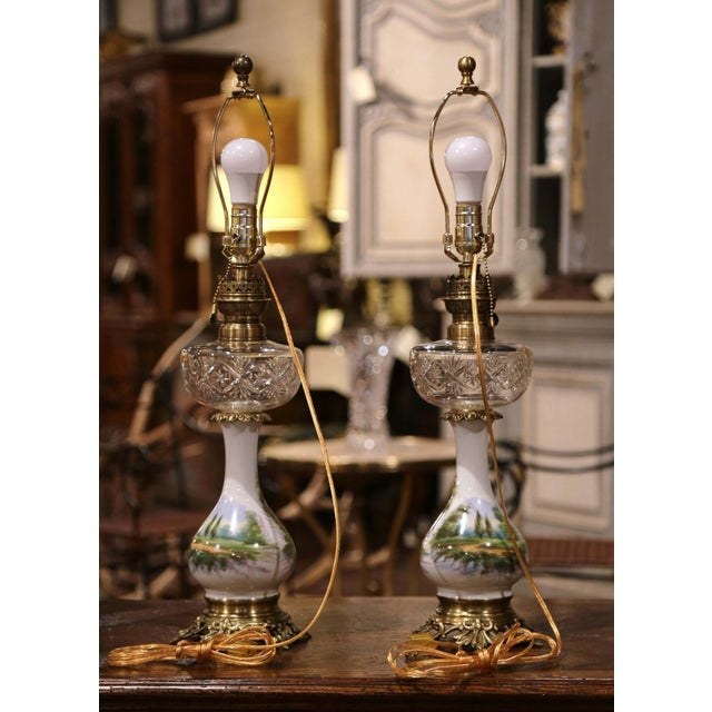 Pair of 19th Century French Porcelain, Bronze, Brass and Cut Glass Table Lamps For Sale - Image 9 of 12