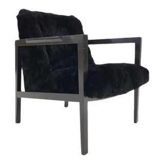 Vintage Edward Wormley Model 406 Lounge Chair Reupholstered in Brazilian Sheepskin For Sale