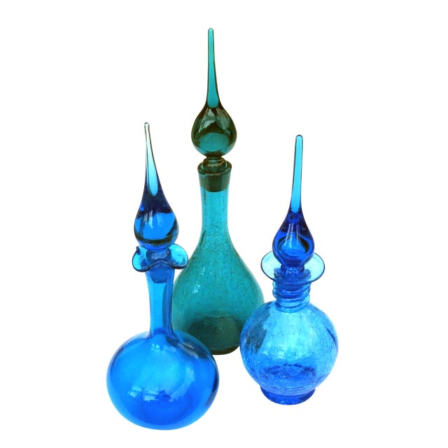 A Rare Set of 3 American 1960's Art Glass Decanters by Joel Philip Myers for Blenko Glassworks For Sale