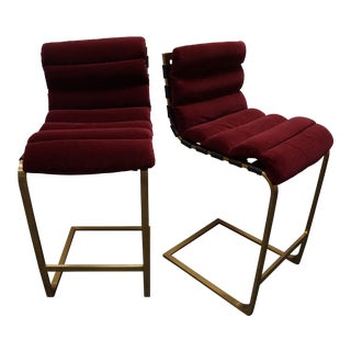 Custom Maroon Upholstered Cantilevered Bar Stools- a Pair For Sale