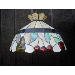 Vintage Stained-Slag Glass Chandelier Preview
