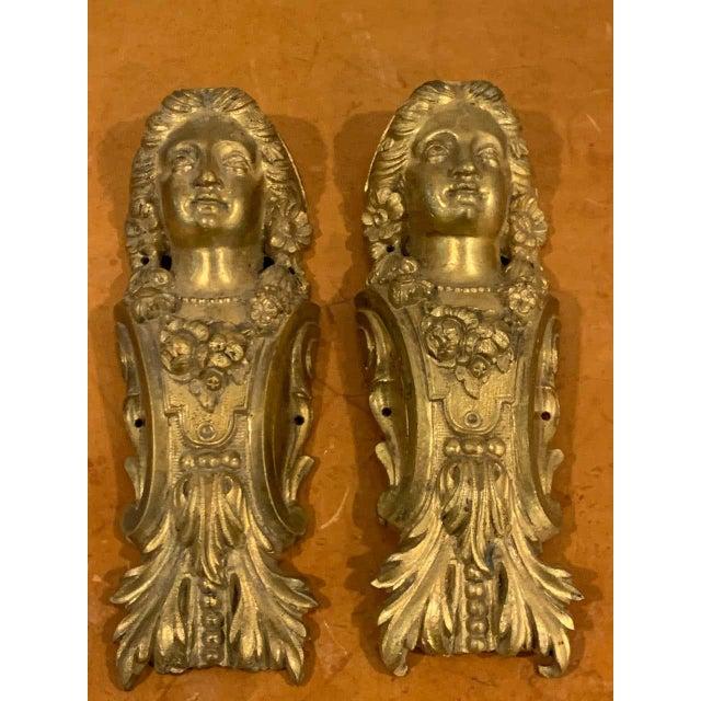 Napoleon III Gilt Bronze Female Medallion Furniture Mounts - a Pair For Sale - Image 4 of 10