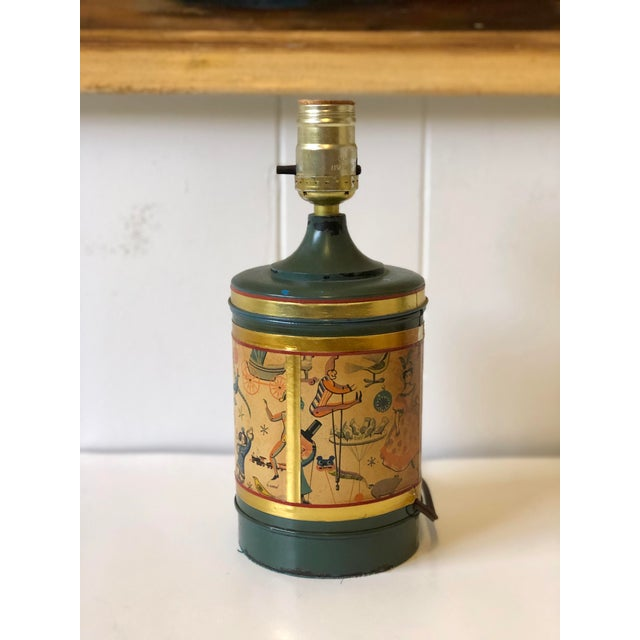 Art Deco Child's Lamp of Tole With a Toy Themed Paper Applique For Sale - Image 4 of 12