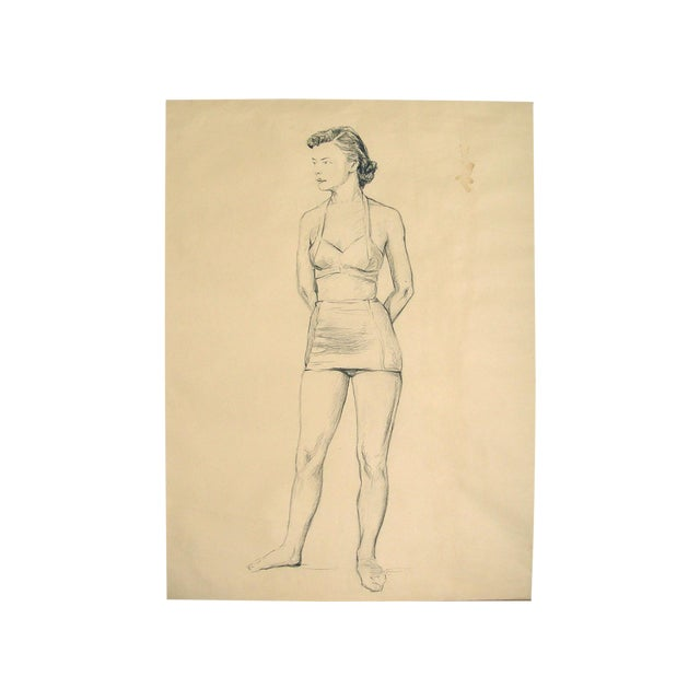 Charcoal Figure Study by C.B. Normann For Sale