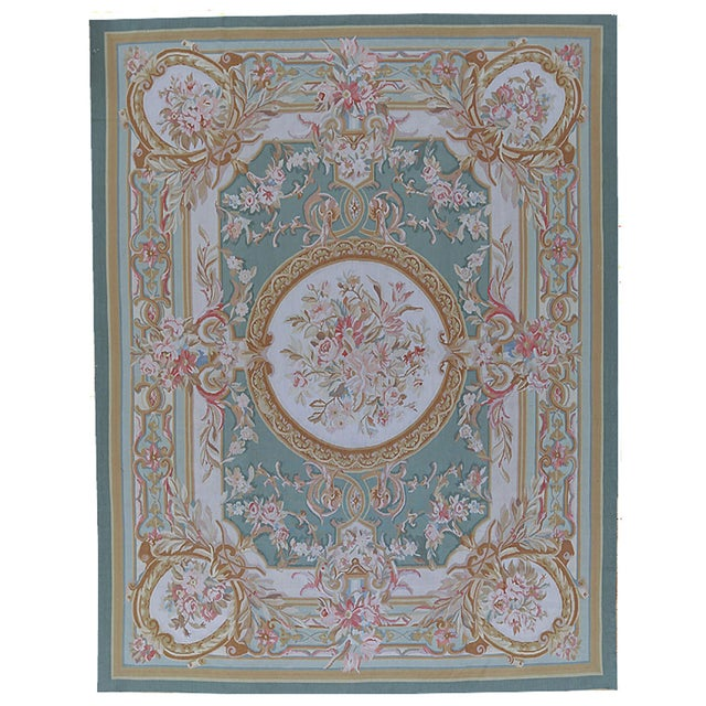 "French Pasargad Aubusson Hand Woven Wool Rug - 6' 3"" X 8'10"" For Sale - Image 3 of 3"