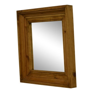 Square Pine-Framed Wall Mirror For Sale
