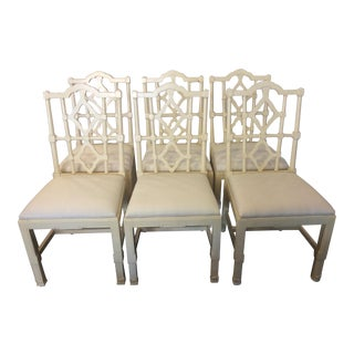 Mid-Century Chinese Chippendale Fretwork Dining Chairs - Set of 6 For Sale