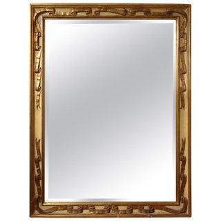Italian Rectangular Painted and Gilt Ribbon Beveled Mirror