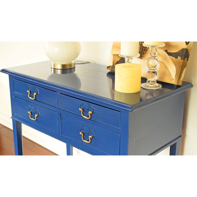 Contemporary Blue Entryway Console Table For Sale - Image 3 of 9