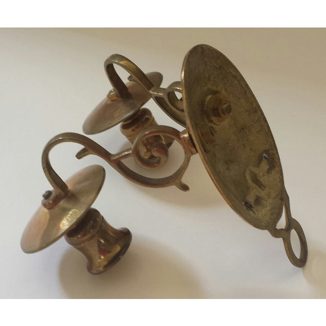 Brass Vintage 2 Candle Brass Sconce For Sale - Image 7 of 9