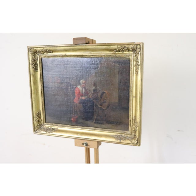18th Century Flemish Oil Painting on Canvas Woman Who Weaves For Sale - Image 4 of 12