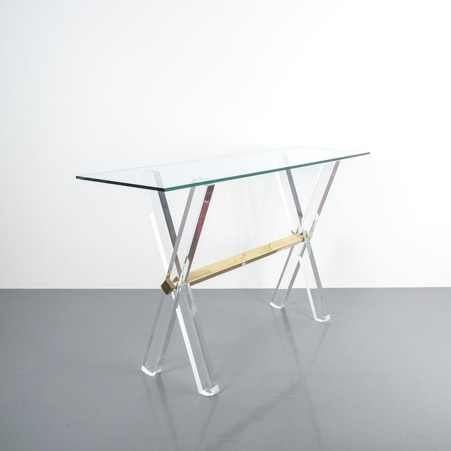 Lucite and Brass X Frame Console Table, Circa 1970 For Sale - Image 10 of 13