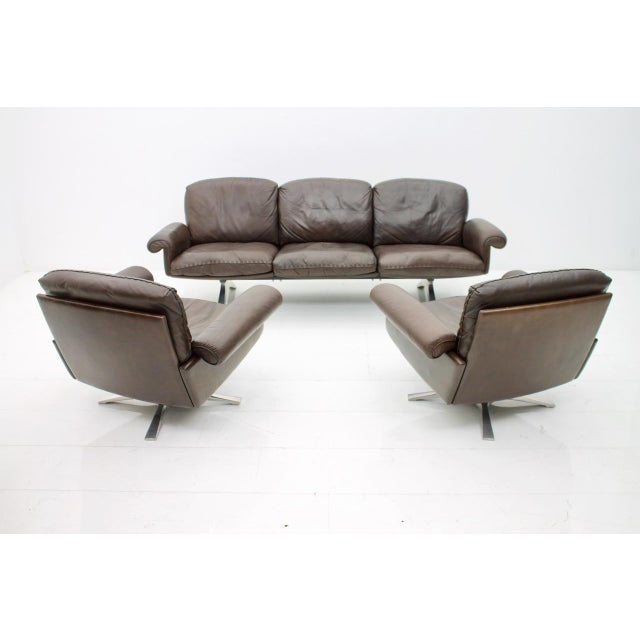 Animal Skin De Sede Leather Sofa Ds 31 With Chrome Base, Switzerland, 1970s For Sale - Image 7 of 9