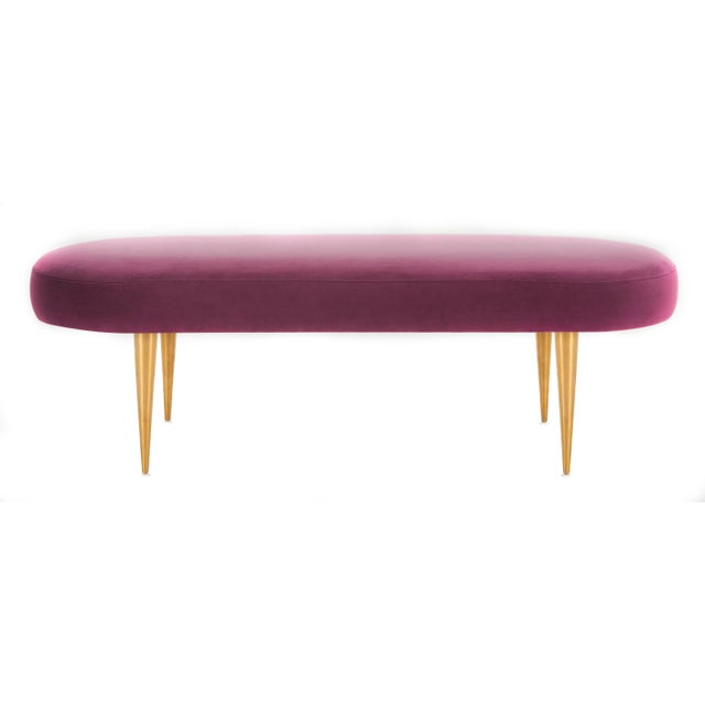 Purple Velvet Oval Bench in Plum For Sale - Image 8 of 8