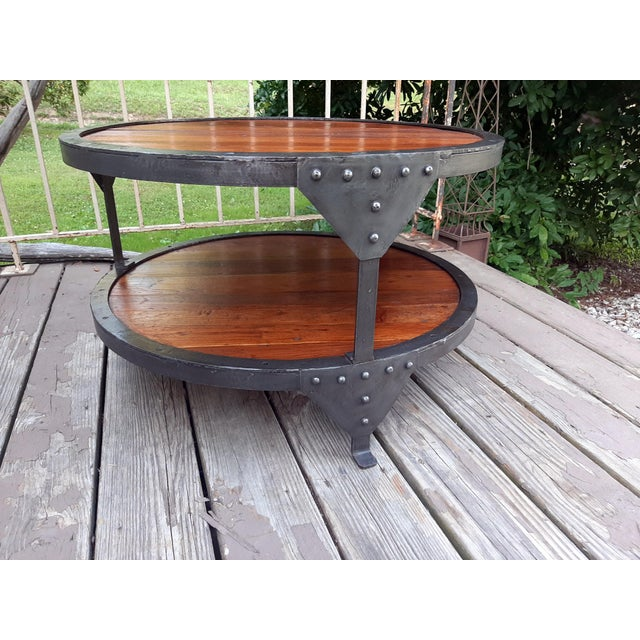 Metal Industrial Farmhouse Round 2 Tier Reclaimed Chestnut Wood & Steel Coffee Table For Sale - Image 7 of 13