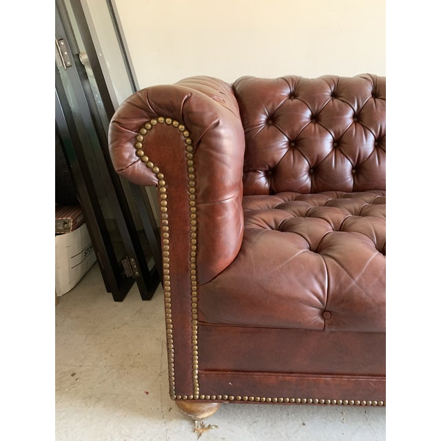 Leather Vintage Chesterfield Leather Sofa For Sale - Image 7 of 9