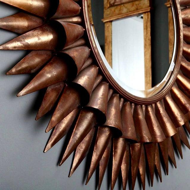 1970s Large Spanish Gilt Sunburst Mirror For Sale - Image 5 of 6