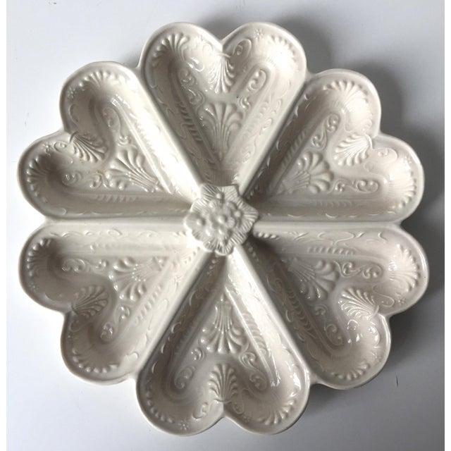 Ceramic Vintage Salt Glazed Heart Shaped Dish For Sale - Image 7 of 7
