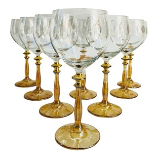 Dazzling Gilt Italian Wine Stems - Set of 8 For Sale