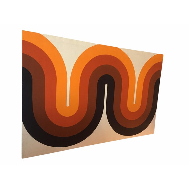 Beautiful mid-century screen print by famed designer Verner Panton. This wall mounted stretched canvas piece was produced...