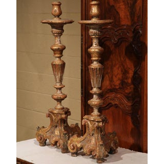 Early 20th Century Italian Carved Pricket Candlesticks With Gilt - A Pair Preview