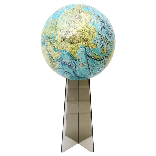 Large Replogle World Globe and Lucite Stand For Sale