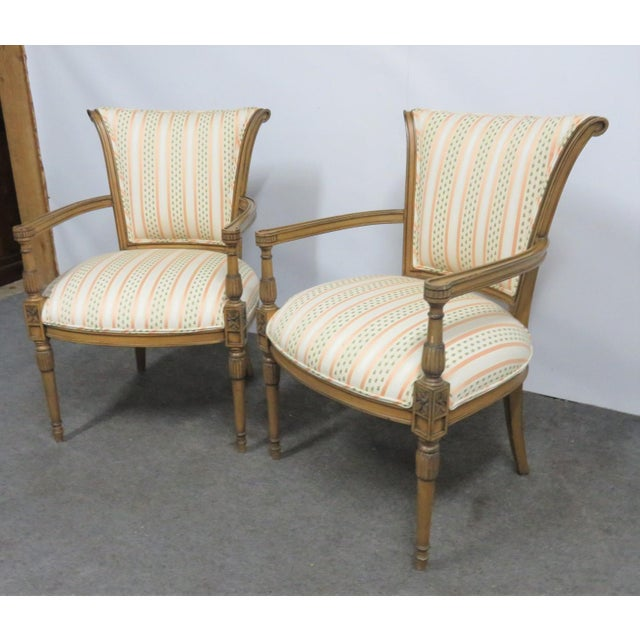 French Louis XVI Style Armchairs - a Pair For Sale - Image 3 of 9