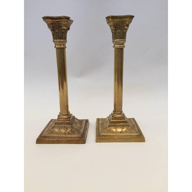 Pair of Brass Candlesticks For Sale - Image 9 of 10